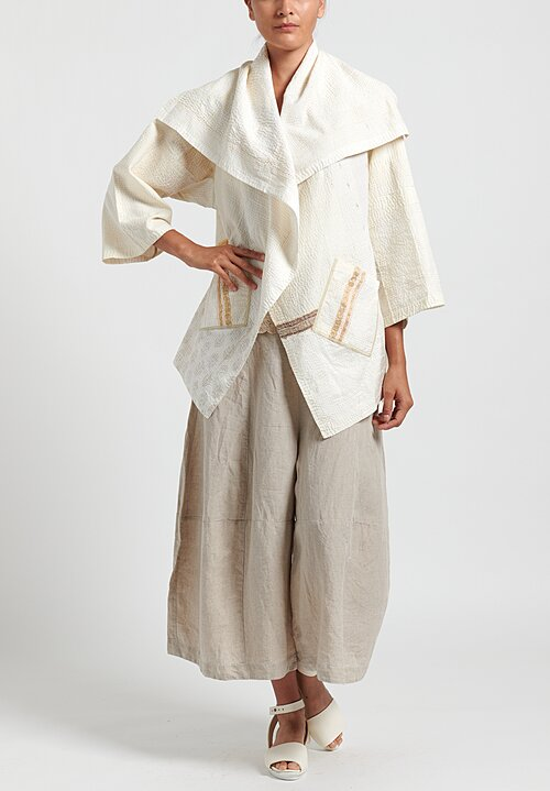 Mieko Mintz 2-Layer Frayed Patch Long Circular Jacket
