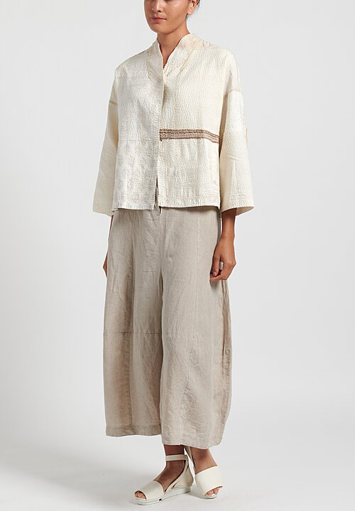 Mieko Mintz 2 Layer Frayed Patch Stand Collar Cropped Jacket Cream