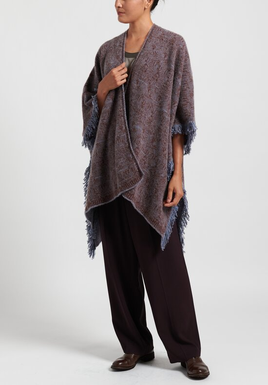 Lainey Cashmere Fringed Cape in Light Blue/ Rust