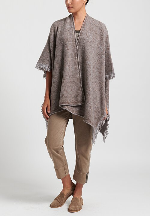 Lainey Cashmere Fringed Cape in Natural