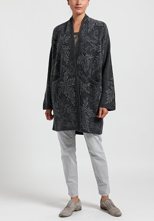 Lainey Keogh Long Embroidered Cardigan in Charcoal