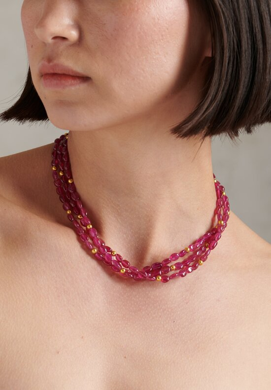 Greig Porter 18K, Ruby Triple Strand Short Necklace