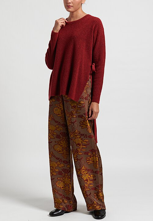 Uma Wang Long Sleeve Tie Sweater in Dark Red