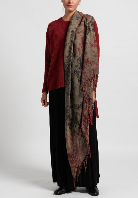 Uma Wang Lightweight Virgin Wool Scarf Mango/ Red/ Black