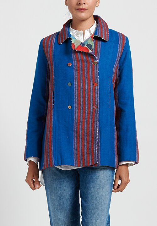 Pero Reversible Double Breasted Striped Jacket in Blue/ Red