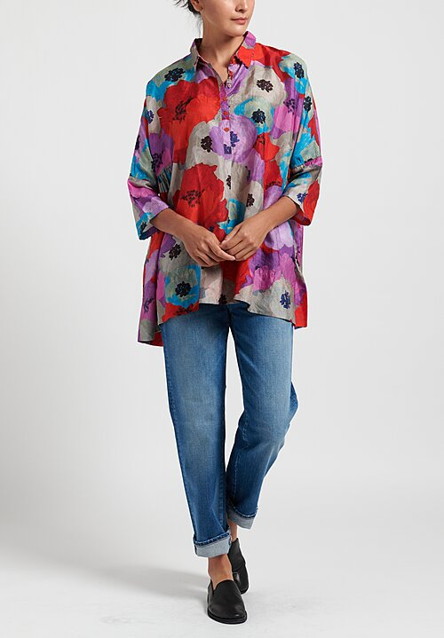 Pero Floral Gathered Blouse in Red/ Purple