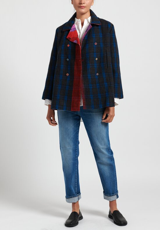 Pero Wool Reversible Jacket in Blue Check/ Red Floral