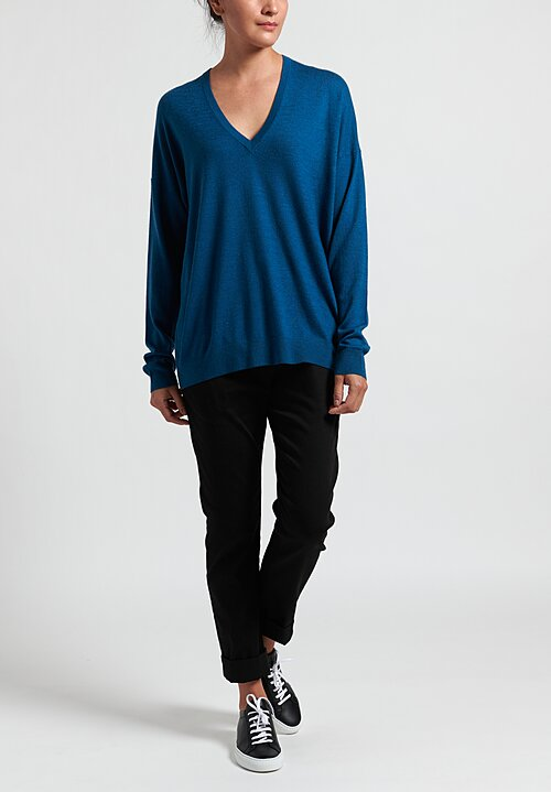 Frenckenberger Cashmere Oversized Deep V-Neck Sweater in Blue Topaz