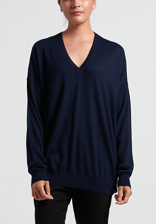 Frenckenberger Cashmere Oversized Deep V-Neck Sweater in Royal Blue