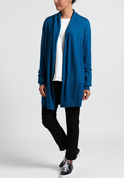 Frenckenberger Cashmere Lightweight Straight Cardigan in Blue