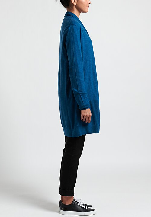 Frenckenberger Cashmere Lightweight Straight Cardigan in Blue Topaz