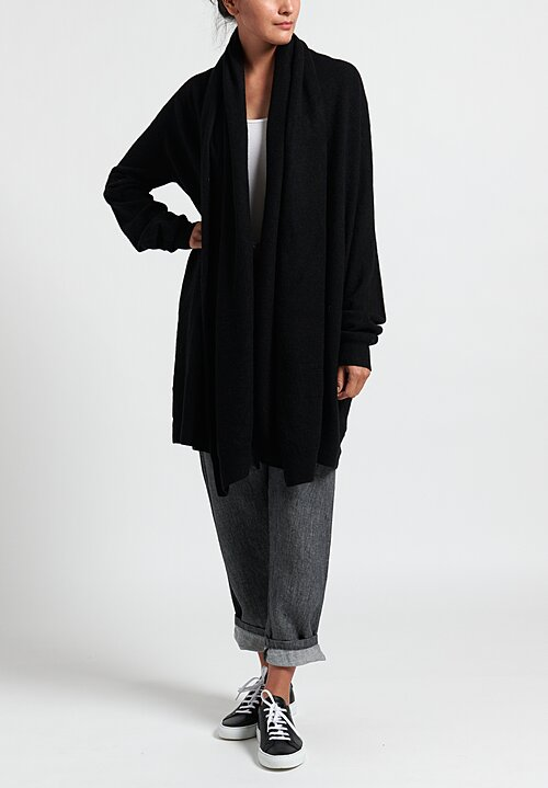 Frenckenberger Cashmere Big Neck Straight Cardigan in Black