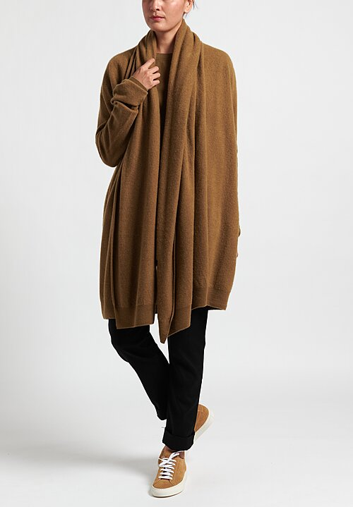 Frenckenberger Cashmere Big Neck Straight Cardigan in Brass