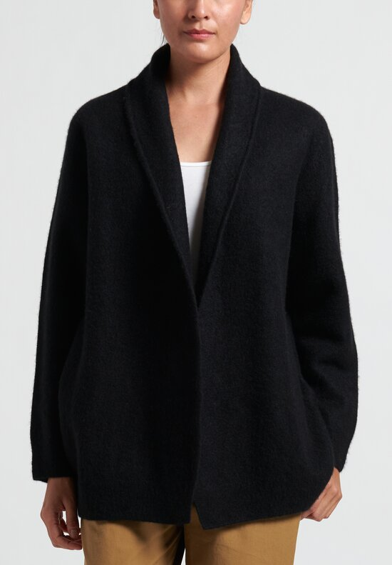 Frenckenberger Felted Medium Cardigan in Black