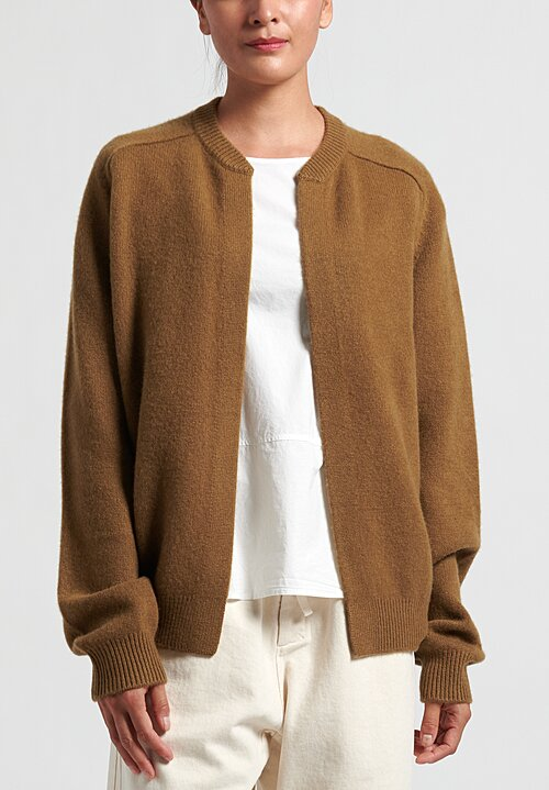 Frenckenberger Cashmere DJ Hell Bomber Medium Knit Cardigan in Brass