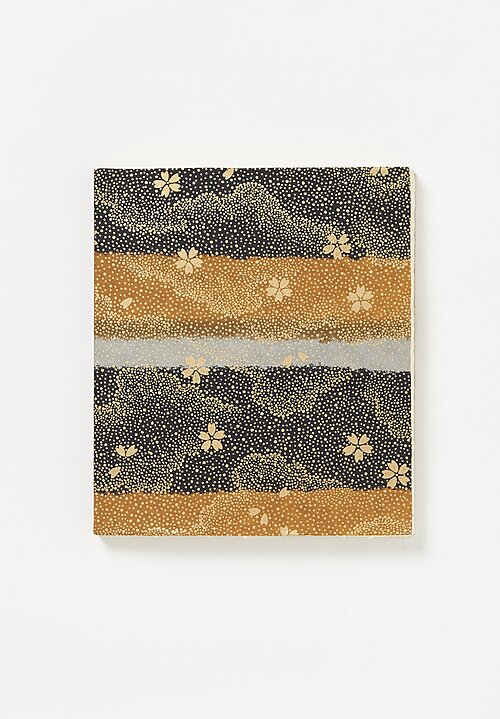 Elam Handprinted Japanese Chiyogami Paper Notebook Gold Flower Band