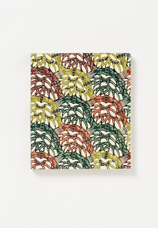 Elam Handprinted Japanese Chiyogami Paper Notebook in Green Fossiles