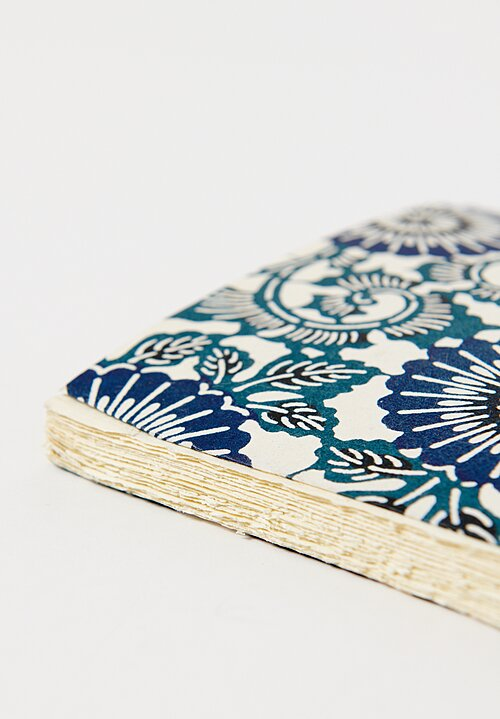 Elam Handprinted Japanese Chiyogami Paper Notebook Grand Blue Flowers