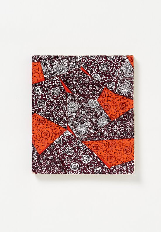 Elam Handprinted Japanese Chiyogami Paper Notebook in Brown & Red Tiles