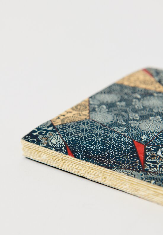 Elam Handprinted Japanese Chiyogami Paper Notebook in Blue Tiles