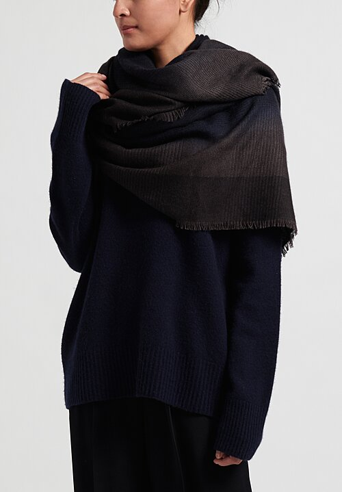 Alonpi Cashmere/ Silk Hand-Painted Plaid Shawl in Navy