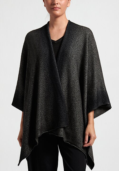 Avant Toi Herringbone Poncho in Nero/ Carruba Brown