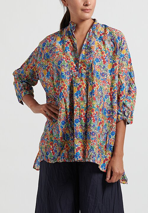 Daniela Gregis Washed Chicory Kora Top in Electric Blue/ Red/ Orange Flowers