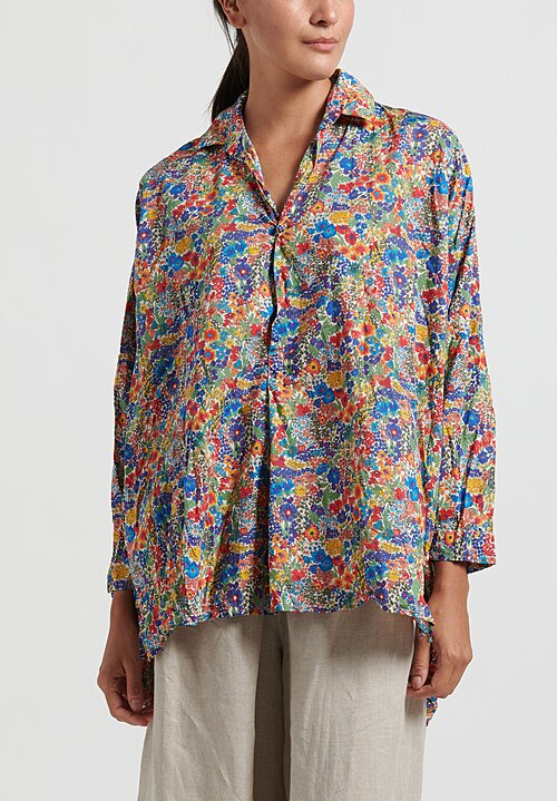 Daniela Gregis Cotton Fratello Washed Chicory Top in Electric Blue/ Red/ Orange Flowers