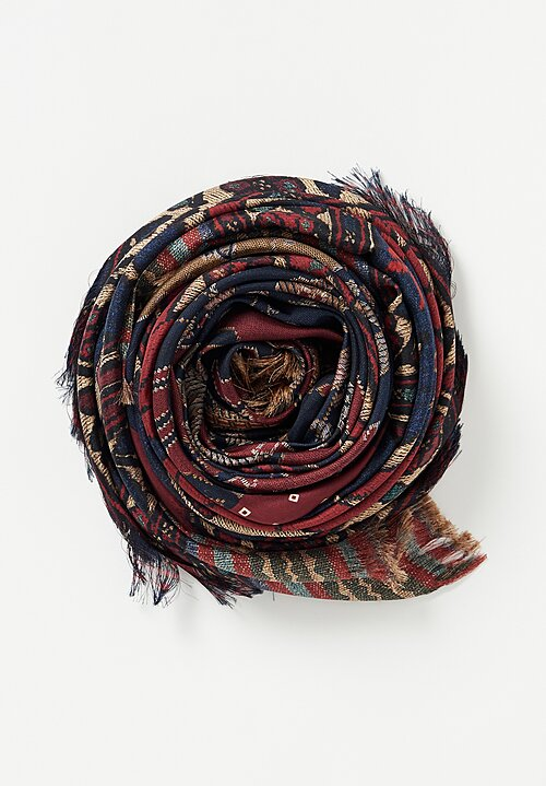 Pierre Louis Maschia Fancy Fringe Scarf Green/ Maroon Multi