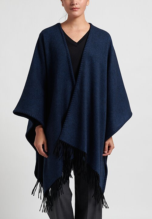 Alonpi Cashmere Whipstitch Cape in Navy