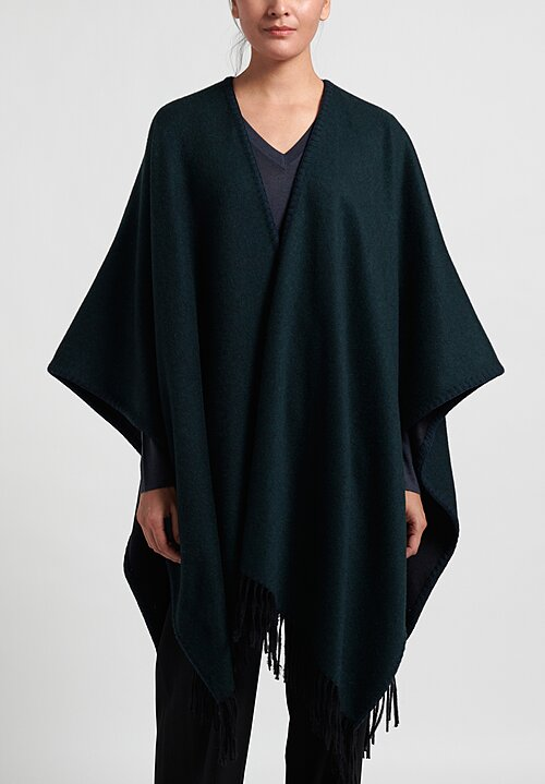 Alonpi Cashmere Whipstitch Cape in Emerald
