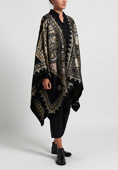 Etro Metallic Tile Patterned Cape in Black/ Gold