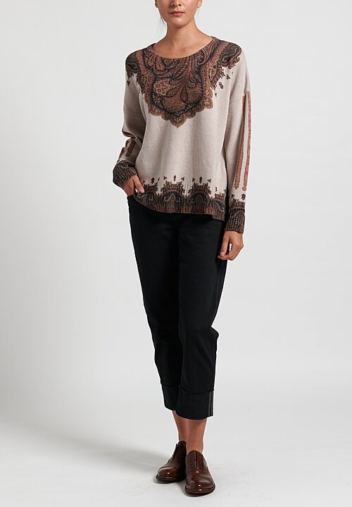 Etro Wool/ Cashmere Oversize Paisley Sweater in Beige/ Pink