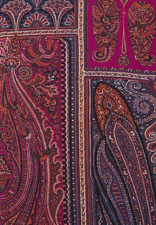 Etro Wool/ Silk Lightweight Tile Scarf in Purple