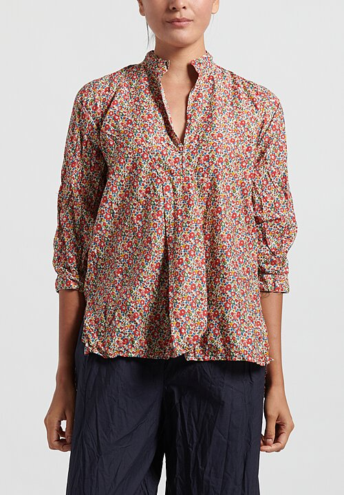 Daniela Gregis Washed Cotton Chicory Printed Kora Top in Primary Flowers