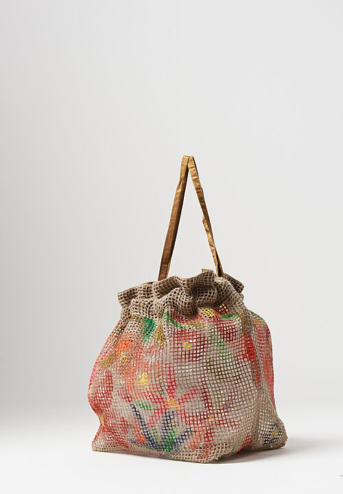 Daniela Gregis Netted Bag with Flowers in Natural