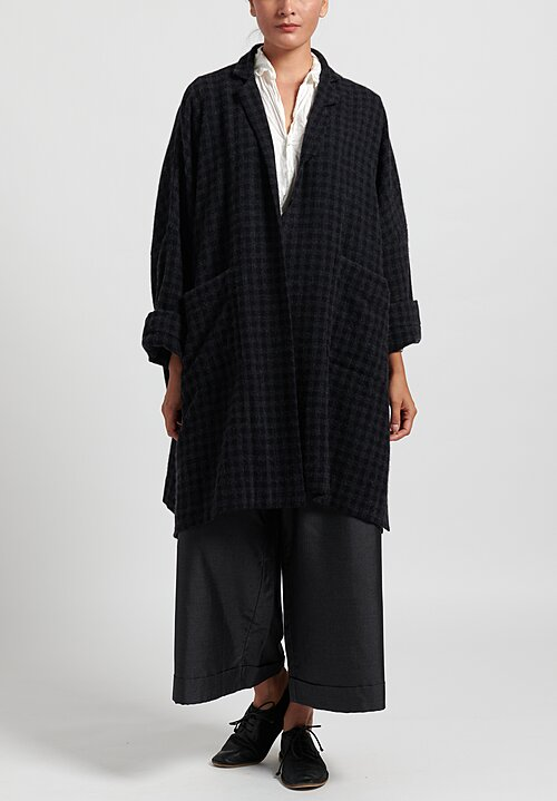Daniela Gregis Cashmere Checkered Jeans Coat in Navy