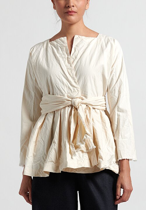 Daniela Gregis Washed Cotton Long Sleeve Wisteria Jacket in Cream