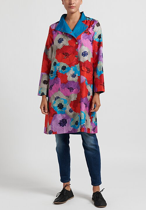 Pero Double Breasted Stand Collar Floral Jacket in Purple/ Red