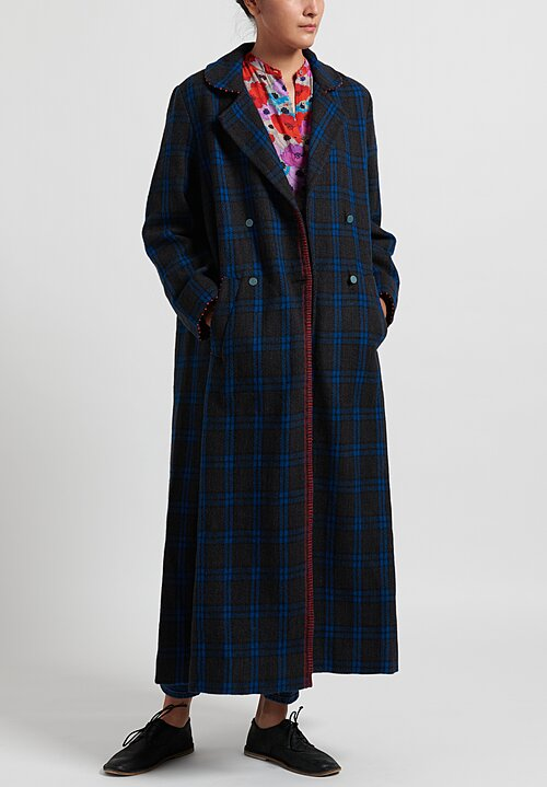 Pero Long Wool Coat in Blue Plaid