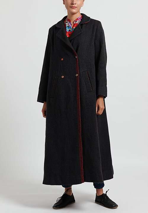 Pero Long Wool Coat in Grey/ Red