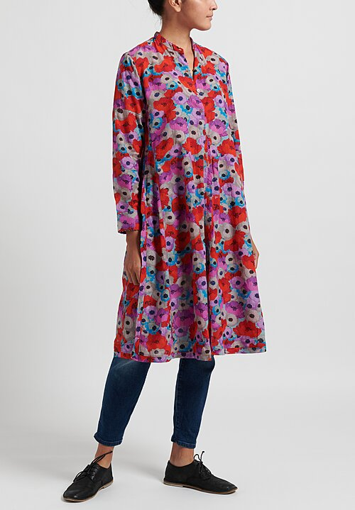 Pero Side Slit Tunic in Red/ Purple Floral
