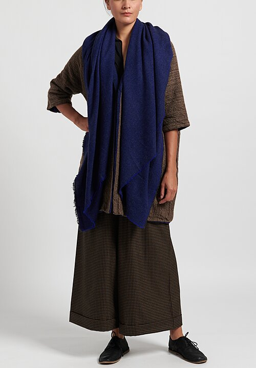 Daniela Gregis Cashmere Anthracite Shawl in Navy Blue