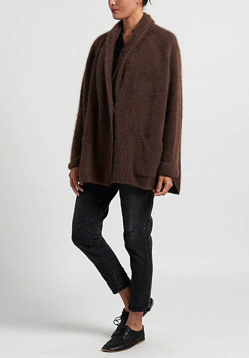 Rundholz Raccoon Fur A-Line Cardigan in Marone