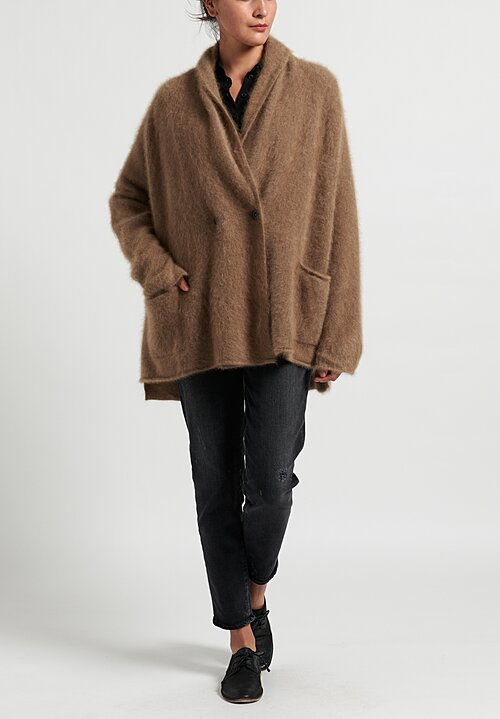 Rundholz Raccoon Fur A-Line Cardigan in Beige