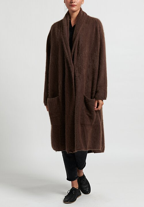 Rundholz Raccoon Fur Knitted Coat in Marone