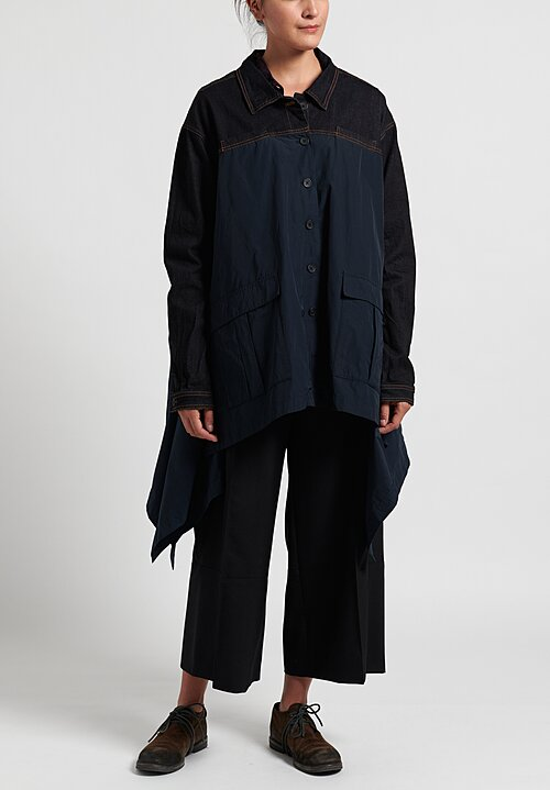 Rundholz Black Label Point Collar Long Jacket in Petrol Orange