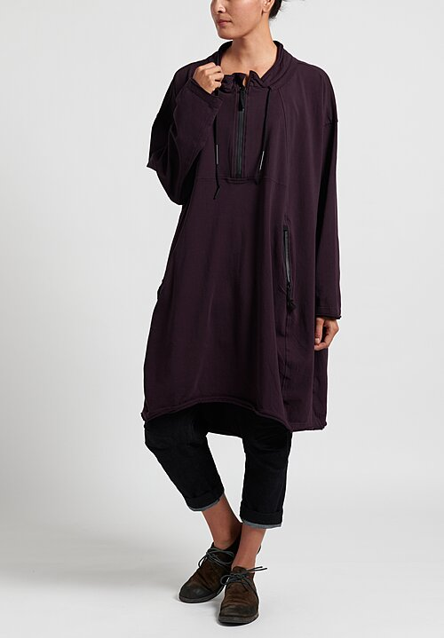 Rundholz Black Label Zipper Drawstring Dress in Merlot
