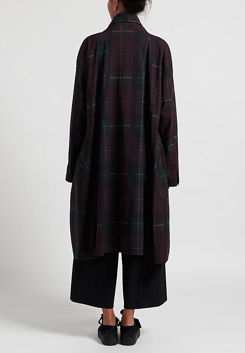 Rundholz Black Label Tulip Coat in Merlot Check