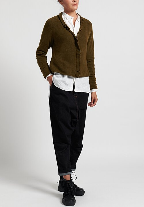 Rundholz Black Label Gathered Cardigan in Curry
